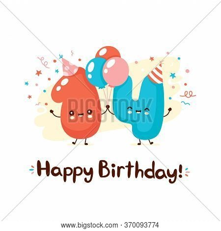 Cute Smiling Numbers Fourteen With Balloons In Festive Hat. Happy Birthday 14 Year.vector Flat Carto