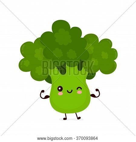 Cute Happy Smiling Broccoli Vegetable Show Muscle. Vector Flat Cartoon Character Illustration Icon D