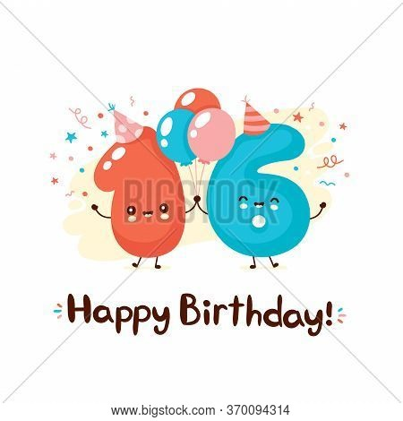 Cute Smiling Numbers Sixteen With Balloons In Festive Hat. Happy Birthday 16 Year.vector Flat Cartoo