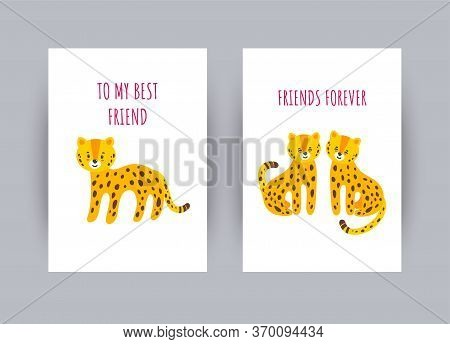 Greeting Card With Awesome Leopards. Cards About Friendship With Cute Leopard Character. Vector Illu