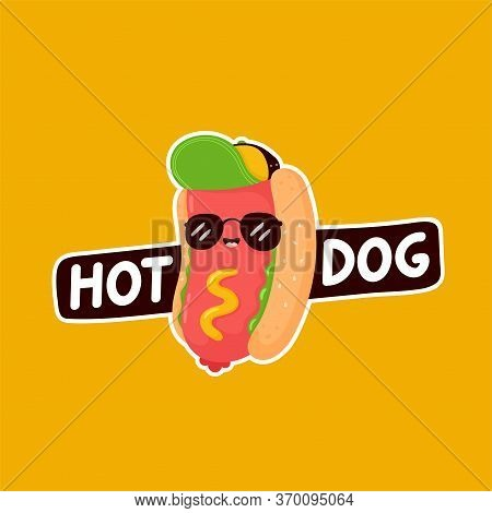Cute Happy Smiling Hot Dog Logo Template. Vector Flat Cartoon Character Illustration Icon Design.iso