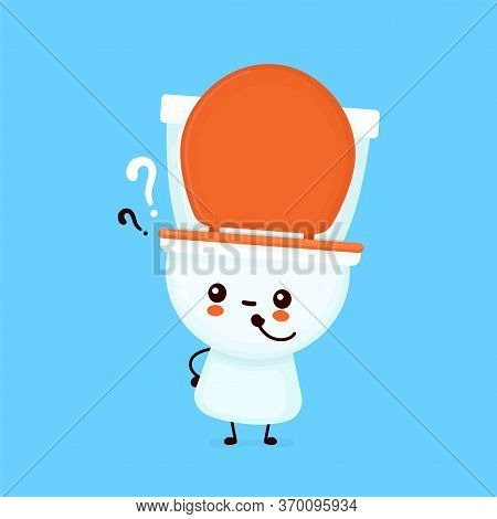 Cute Happy Smiling Toilet Bowl With Question Mark. Vector Flat Cartoon Character Illustration Icon D