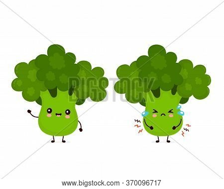 Cute Happy Smiling And Sad Cry Broccoli Vegetable. Vector Flat Cartoon Character Illustration Icon D