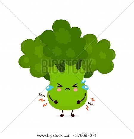 Cute Sad Cry Broccoli Vegetable. Vector Flat Cartoon Character Illustration Icon Design.isolated On