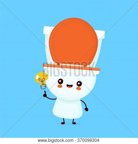 Cute Happy Smiling Toilet Bowl With Light Bulb. Vector Flat Cartoon Character Illustration Icon Desi
