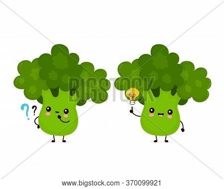 Cute Happy Smiling Broccoli Vegetable With Question Mark And Idea Lightbulb. Vector Flat Cartoon Cha