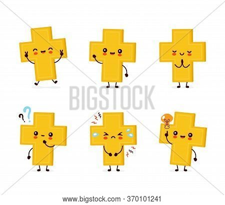 Cute Happy Smiling Christian Cross. Vector Flat Cartoon Character Illustration Icon Design.isolated