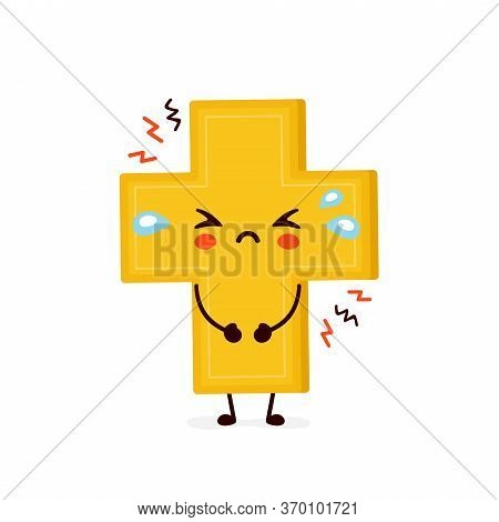 Cute Sad Cry Christian Cross. Vector Flat Cartoon Character Illustration Icon Design.isolated On Whi