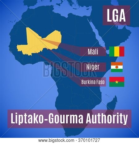 Vector Map And Flags Of The Liptako-gourma Authority (lga).