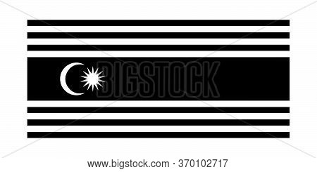 Flag Of Kuala Lumpur Federal Territory Malaysia. Kl Flag Malaysia. Black And White Eps Vector File.