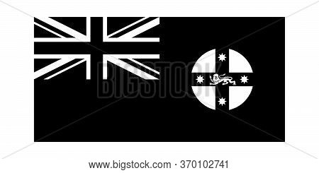 New South Wales Nsw State Flag Australia. Black And White Eps Vector File.