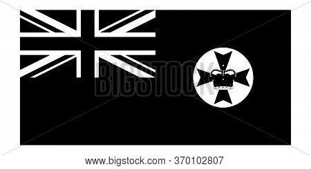 Flag Of Queensland Qld State Australia. Queensland State Flag Australia. Black And White Eps Vector