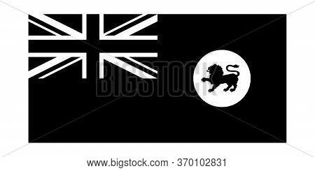 Tasmania Tas Tassie State Flag Australia. Black And White Eps Vector File.