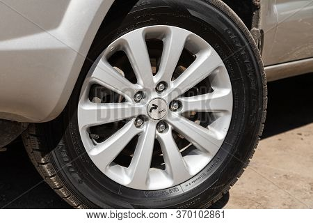 Novosibirsk/ Russia - May 12, 2020:  Hyundai Tucson, Car Wheel With Alloy Wheel And New Rubber On A