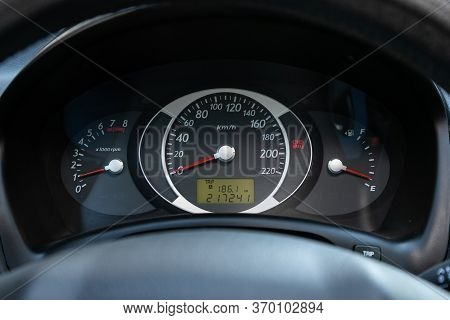 Novosibirsk/ Russia - May 12, 2020:  Hyundai Tucson, Car Panel, Digital Bright Speedometer, Odometer