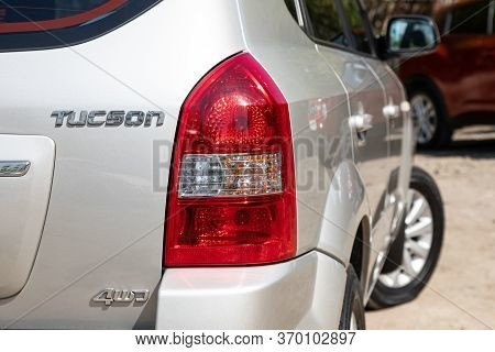 Novosibirsk/ Russia - May 12, 2020:  Hyundai Tucson,  Beige Car Taillight. Exterior Detail. Close Up
