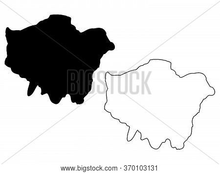 Map Of Greater London. Black And Outline Maps. Eps Vector File.