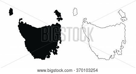 Map Of Tasmania Australia. Black And Outline Maps. Eps Vector File.