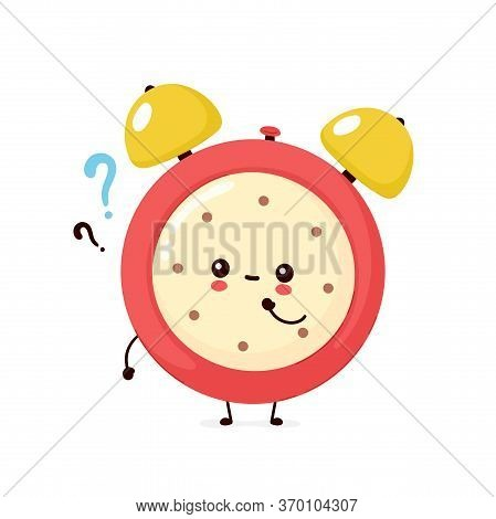 Cute Smiling Happy Alarm Time Clock With Question Mark. Vector Flat Cartoon Character Illustration I