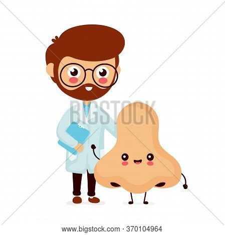 Cute Smiling Happy Human Nose And Doctor. Vector Flat Cartoon Character Illustration.isolated On Whi