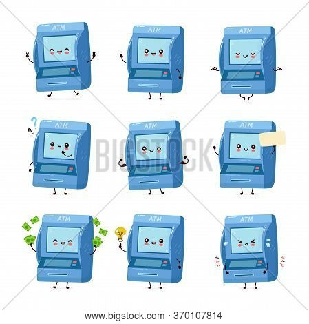 Cute Smiling Happy Atm Set Collection. Vector Flat Cartoon Character Illustration.isolated On White