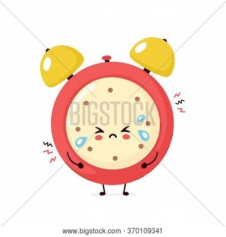 Cute Sad Cry Alarm Time Clock. Vector Flat Cartoon Character Illustration Icon Design.isolated On Wh