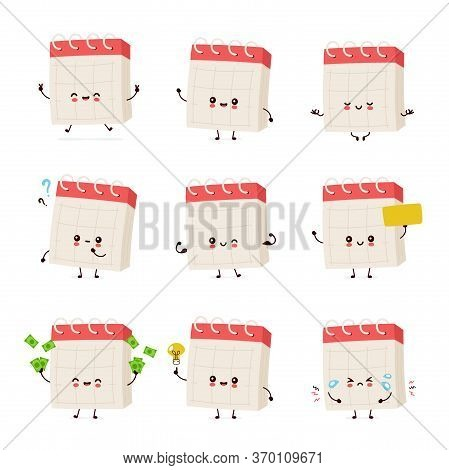 Cute Smiling Happy Desk Calendar Set Collection. Vector Flat Cartoon Character Illustration.isolated