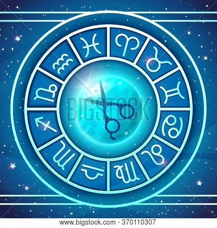 Zodiac Wheel With Zodiac Signs Set, Moon And Hairdressers Scisors, Astrological Symbols. Lunar Hair