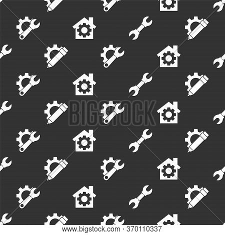 Set Wrench Spanner, Pencil And Gear, Wrench Spanner And Gear And House With Gear On Seamless Pattern