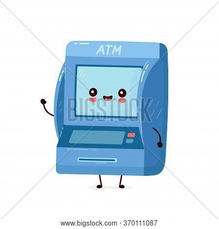 Cute Smiling Happy Atm. Vector Flat Cartoon Character Illustration.isolated On White Background. Aut