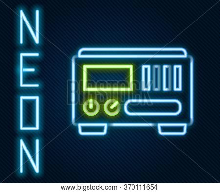 Glowing Neon Line Electrical Measuring Instruments Icon Isolated On Black Background. Analog Devices