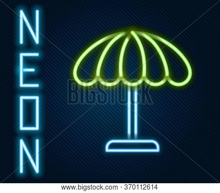 Glowing Neon Line Sun Protective Umbrella For Beach Icon Isolated On Black Background. Large Parasol