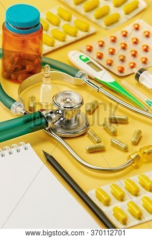 Doctor's Tool For Diagnosing A Patient. Medical Background. Prevention And Diagnosis Of Coronavirus