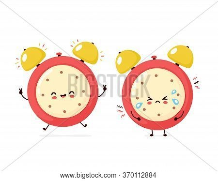 Cute Smiling Happy And Sad Cry Alarm Time Clock. Vector Flat Cartoon Character Illustration Icon Des