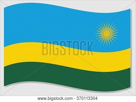 Waving Flag Of Rwanda Vector Graphic. Waving Rwandese Flag Illustration. Rwanda Country Flag Wavin I