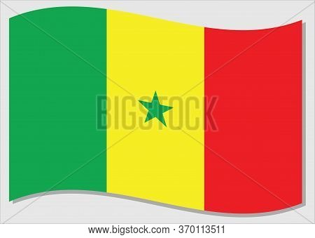 Waving Flag Of Senegal Vector Graphic. Waving Senegalese Flag Illustration. Senegal Country Flag Wav
