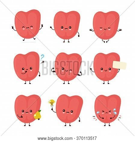 Cute Smiling Happy Human Tongue Set Collection. Vector Flat Cartoon Character Illustration.isolated