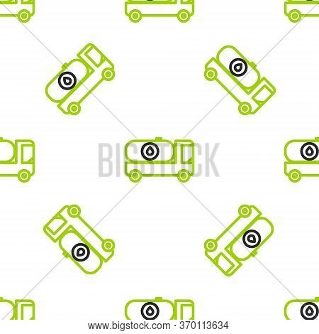 Line Fuel Tanker Truck Icon Isolated Seamless Pattern On White Background. Gasoline Tanker. Vector I
