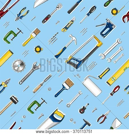 Repair Tools Seamless, Pattern In Cartoon Style. Construction Workshop Equipment Background. Handwor