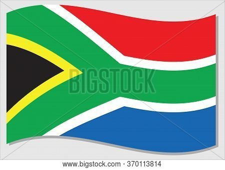 Waving Flag Of South Africa Vector Graphic. Waving South African Flag Illustration. South Africa Cou