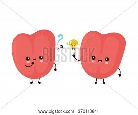 Cute Smiling Happy Human Tongue. Vector Flat Cartoon Character Illustration.isolated On White Backgr