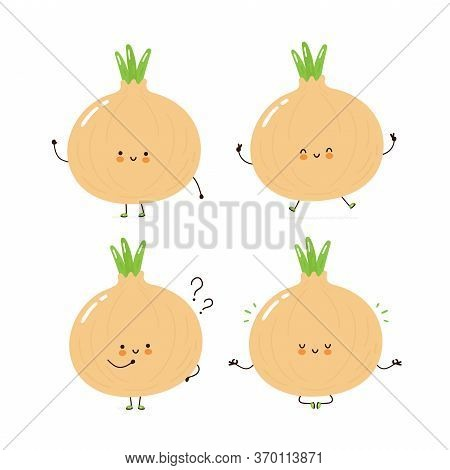 Cute Happy Onion Character Set Collection. Isolated On White Background. Vector Cartoon Character Il