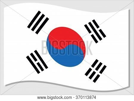 Waving Flag Of South Korea Vector Graphic. Waving South Korean Flag Illustration. South Korea Countr