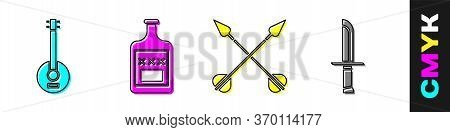 Set Banjo, Whiskey Bottle, Crossed Arrows And Military Knife Icon. Vector