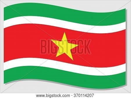 Waving Flag Of Suriname Vector Graphic. Waving Surinamese Flag Illustration. Suriname Country Flag W