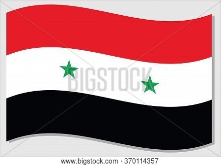 Waving Flag Of Syria Vector Graphic. Waving Syrian Flag Illustration. Syria Country Flag Wavin In Th
