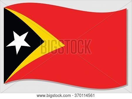 Waving Flag Of Timor Leste Vector Graphic. Waving East Timorese Flag Illustration. Timor Leste Count