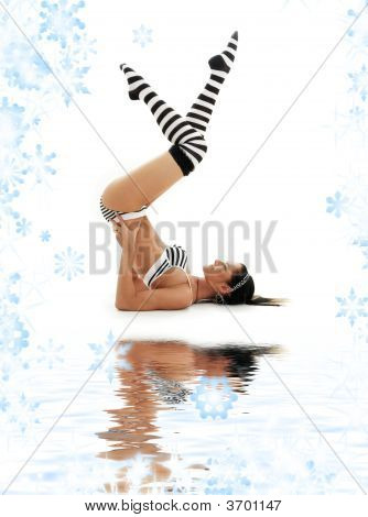picture of striped underwear girl practicing supported shoulderstand poster