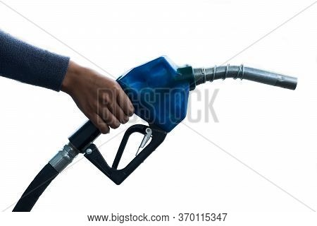 Woman Holding Fuel Pump On White Background,concept Pure Energy, To Reduce Pollution.