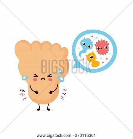Cute Smiling Happy Human Leg Foot With Fungus Virus. Vector Flat Cartoon Character Illustration.isol
